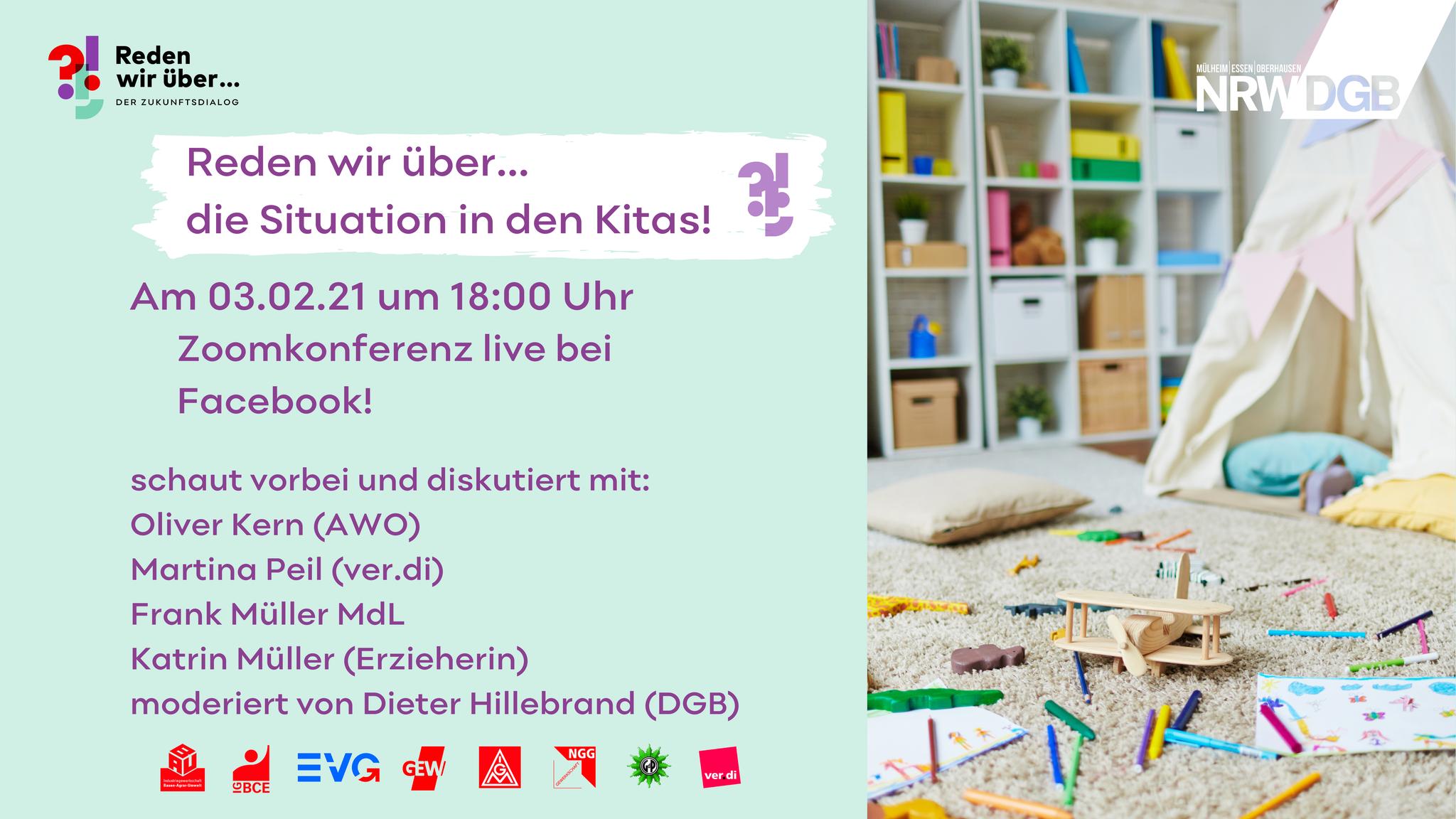 Flyer zum Themenabend Kita am 03.02.2021 live bei Facebook